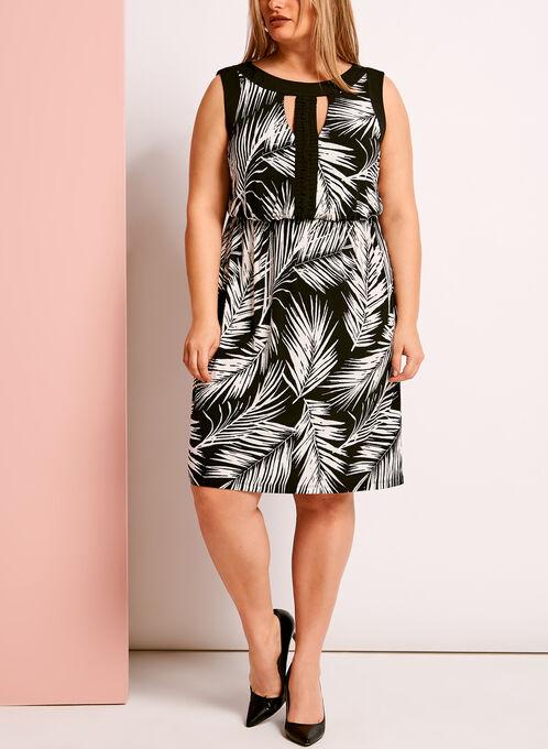 Tropical Print Braided Trim Dress, Black, hi-res