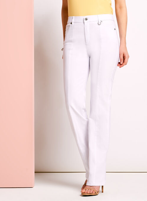 Simon Chang Straight Leg Pants, White, hi-res