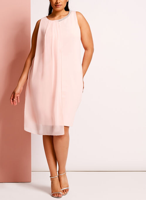 Embellished Chiffon Scuba Dress, Pink, hi-res