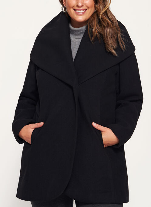 Shawl Neck Topper Coat, Black, hi-res
