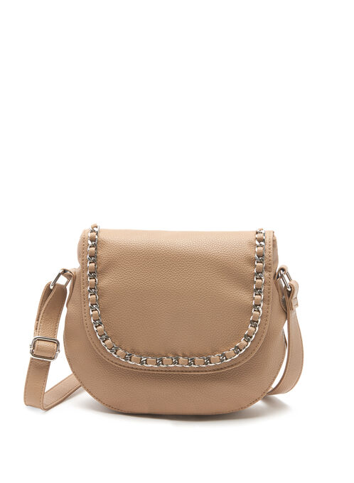 Chain Trim Crossbody Saddle Bag, Brown, hi-res