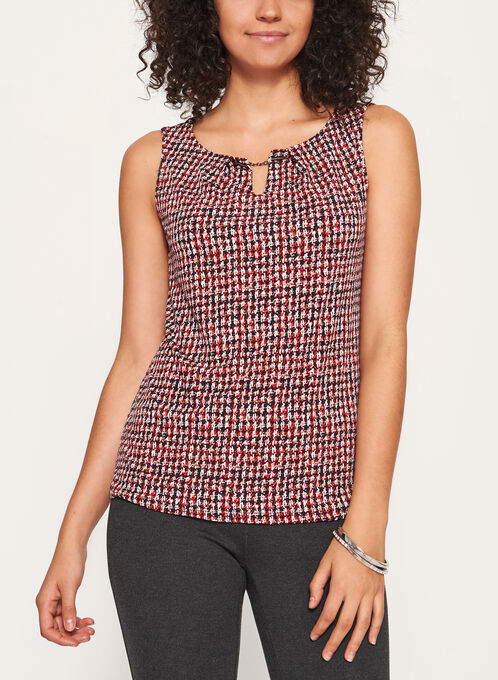 Houndstooth Print Jersey Top , Red, hi-res