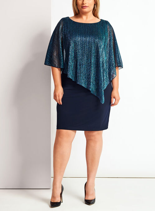 Cold Shoulder Metallic Poncho Dress, Blue, hi-res