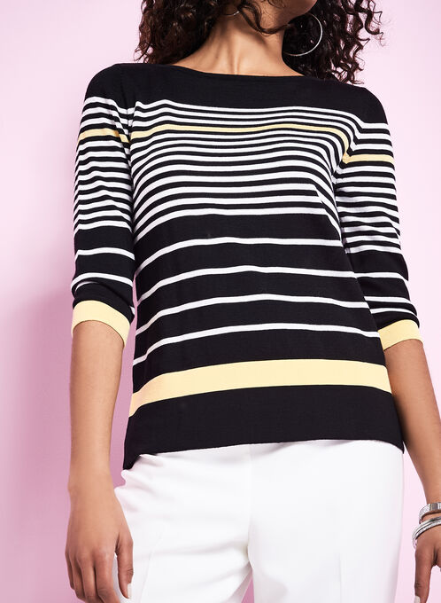 3/4 Sleeve Stripe Print Sweater, Black, hi-res