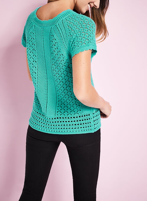 Crochet Knit Scoop Neck Sweater, Blue, hi-res