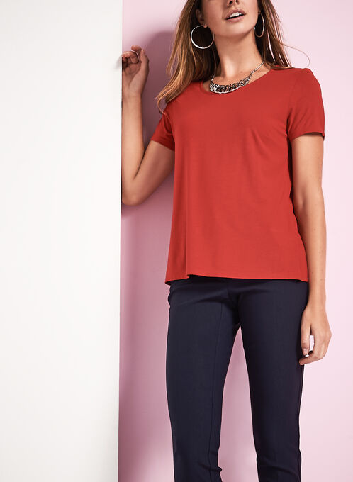 Scoop Neck Short Sleeve T-Shirt, Red, hi-res