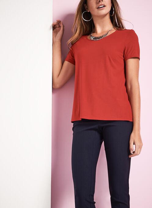 Scoop Neck Short Sleeve T-Shirt, Red, hi-res
