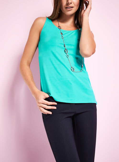 Basic Scoop Neck Tank Top, Blue, hi-res