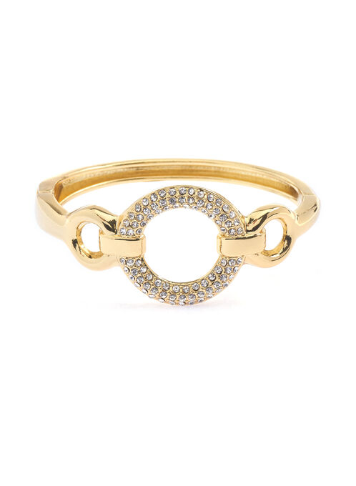 Crystal Ring Hinge Bracelet, Gold, hi-res
