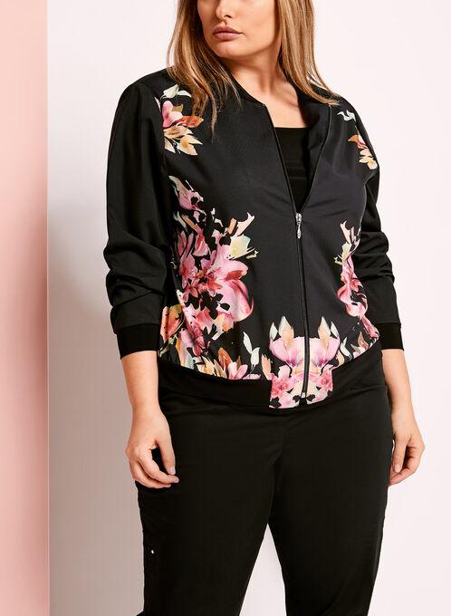 Floral Print Georgette Bomber Jacket, Black, hi-res