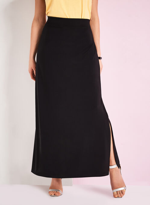 Side Slit Detail Maxi Skirt, Black, hi-res