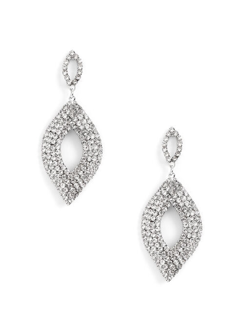 Open Diamond Crystal Earrings, Silver, hi-res
