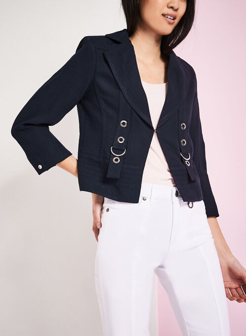 Vex Faux Linen Grommet Detail Jacket, Blue, hi-res