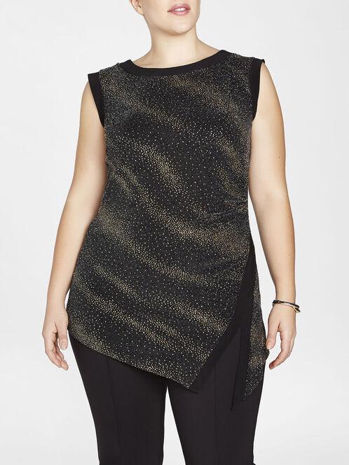 Diagonal Sparkle Detail Asymmetric Tunic, Black, hi-res
