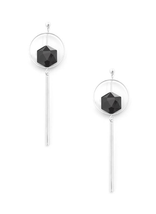 Contrast Hoop Bar Earrings, Black, hi-res