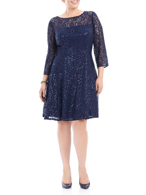 Sequin Lace 3/4 Sleeve Dress, Blue, hi-res