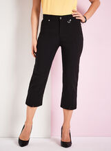 Simon Chang Micro Twill Capri Pants, Black, hi-res