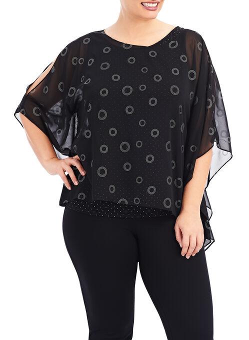 Open Shoulder Poncho Blouse , Black, hi-res