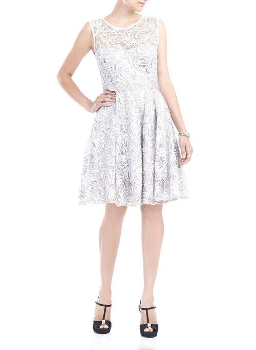 Sequined Soutache Fit & Flare Dress, Silver, hi-res