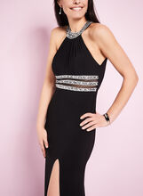 Beaded Cleo Neck Jersey Gown , Black, hi-res
