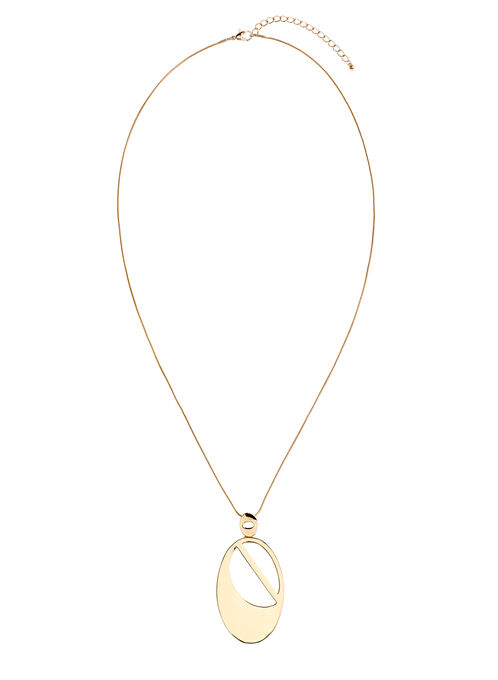 Oval Pendant Necklace, Gold, hi-res