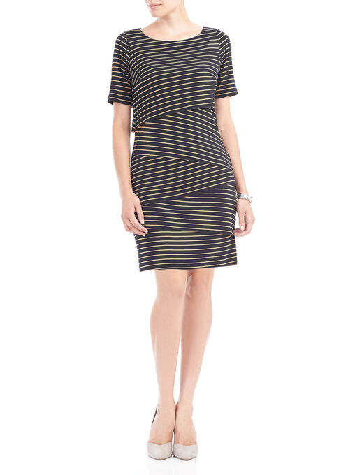 Striped Boat Neck Tiered Dress , Blue, hi-res