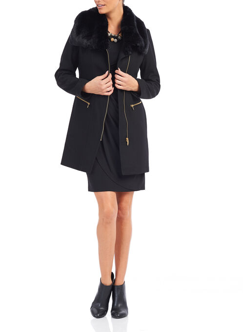 Via Spiga Faux Fur Wool Coat , Black, hi-res