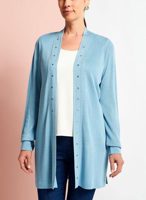 Long Sleeve Studded Edge Cardigan, Blue, hi-res
