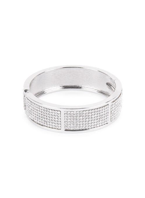 Crystal Bangle Bracelet , Silver, hi-res