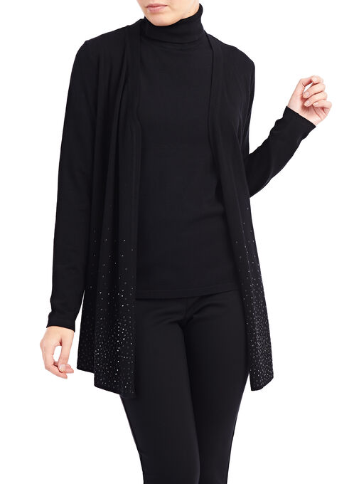 Beaded Knit Cardigan , Black, hi-res