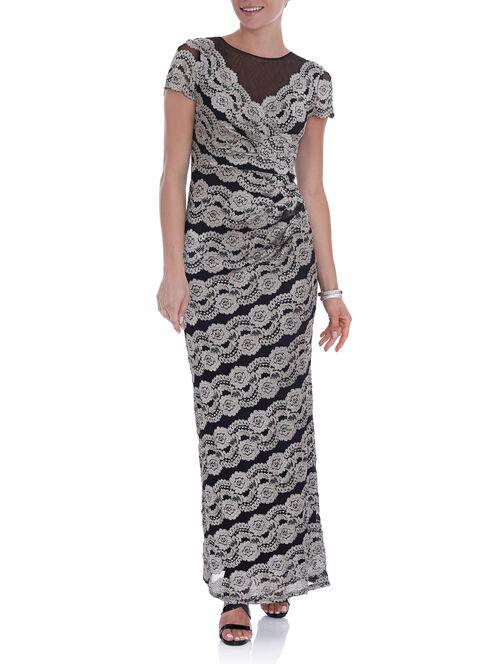 Short Sleeve Lace Gown , Black, hi-res