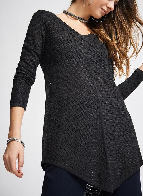 V-Neck Mitered Sweater, Grey, hi-res