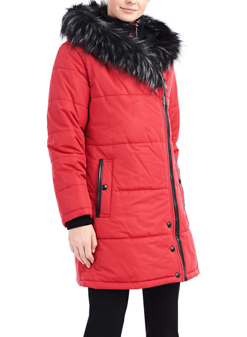 Faux Fur Polyfill Coat , Red, hi-res