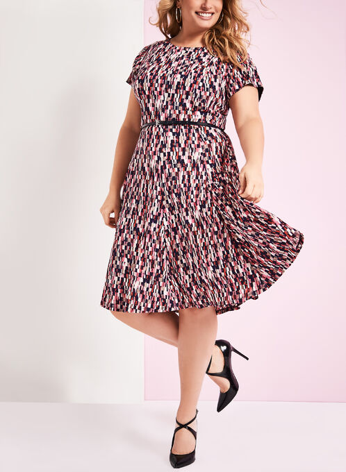 Check Printed Belted Jersey Dress, Red, hi-res