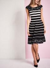 Stripe & Lace Print Dress, Black, hi-res