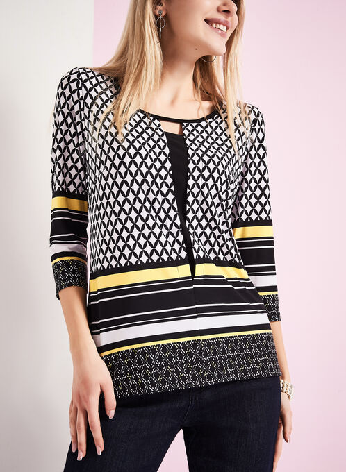 Geometric Print Insert Top , Black, hi-res