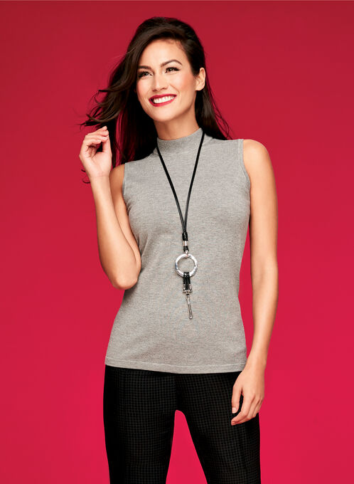 Mock Neck Jersey Knit Top, Grey, hi-res