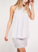 Tiered Crystal Embellished Dress, Silver, hi-res