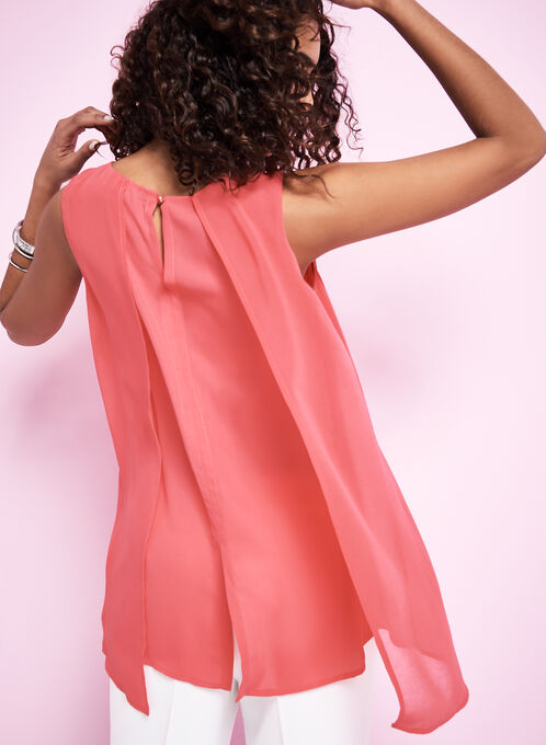 Capelet Back Sleeveless Blouse, Red, hi-res
