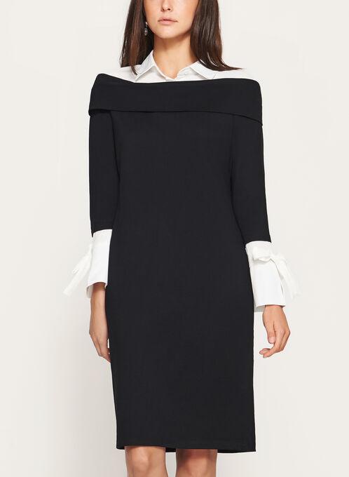 Elena Wang - Shirt Collar Dress, Black, hi-res
