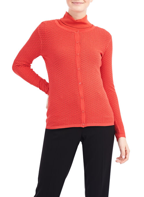 Long Sleeve Fancy Stitch Cardigan, Orange, hi-res