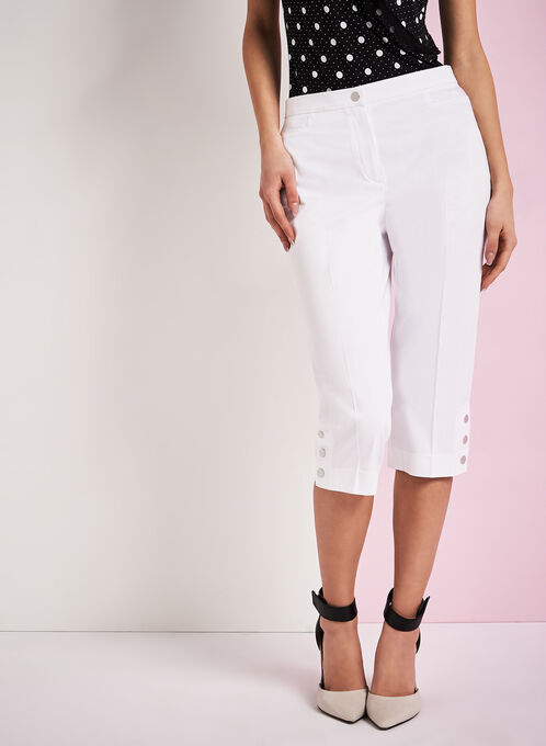 Signature Fit Sateen Capri Pants, White, hi-res