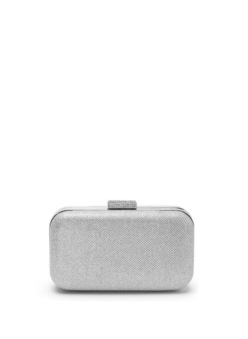 Crystal Glitter Clutch , Silver, hi-res