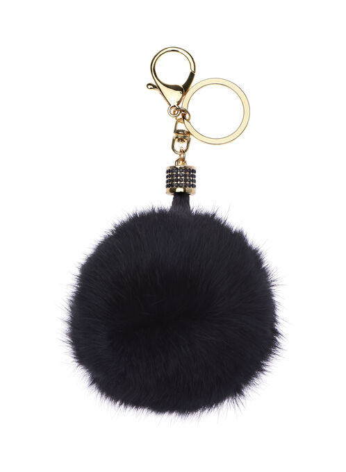 Braided Rabbit Fur Key Chain, Black, hi-res
