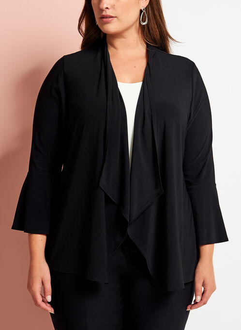 Cascade Bell Sleeve Open Front Top, Black, hi-res