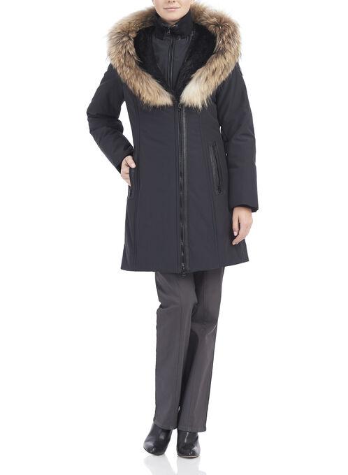 Polyfill Asymmetrical Fur Coat , Black, hi-res