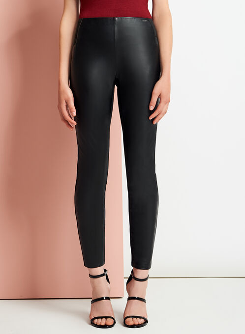 Faux Leather Front Leggings, Black, hi-res