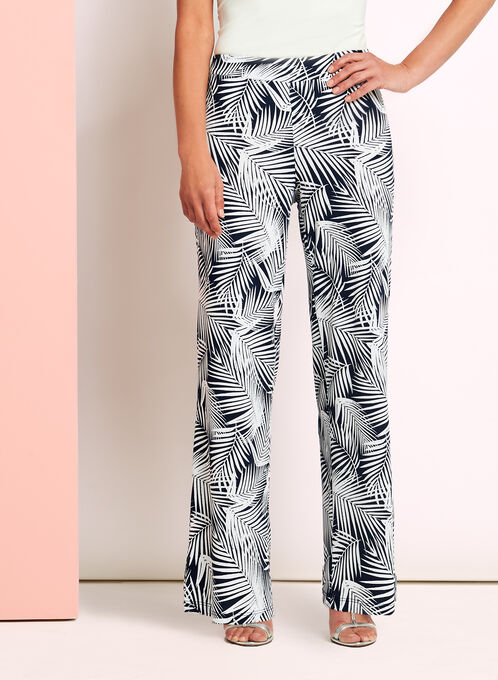 Palm Print Wide Leg Pants, Blue, hi-res