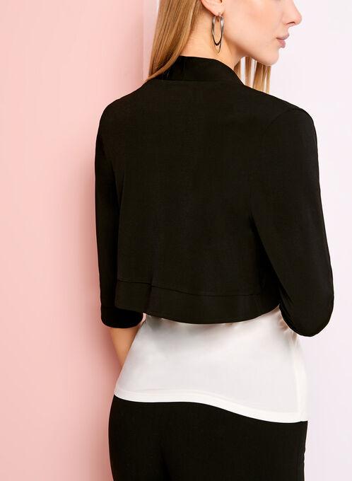 3/4 Sleeve Jersey Bolero, Black, hi-res