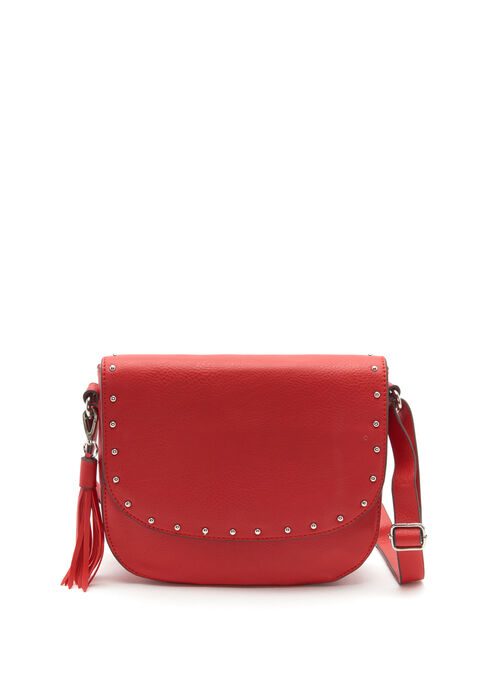 Studded Foldover Crossbody Bag, Red, hi-res